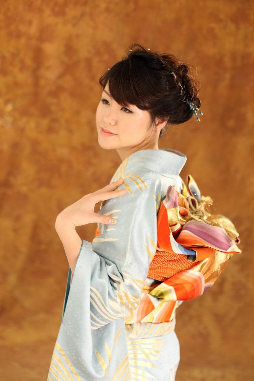 レディース 成人式 着物 和風アップ パーマ カラー