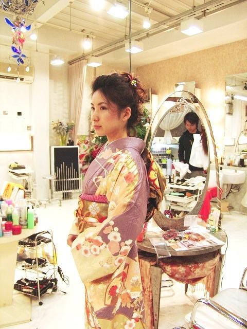 レディース 成人式 着物 和風アップ まとめ髪 パーマ カラー3