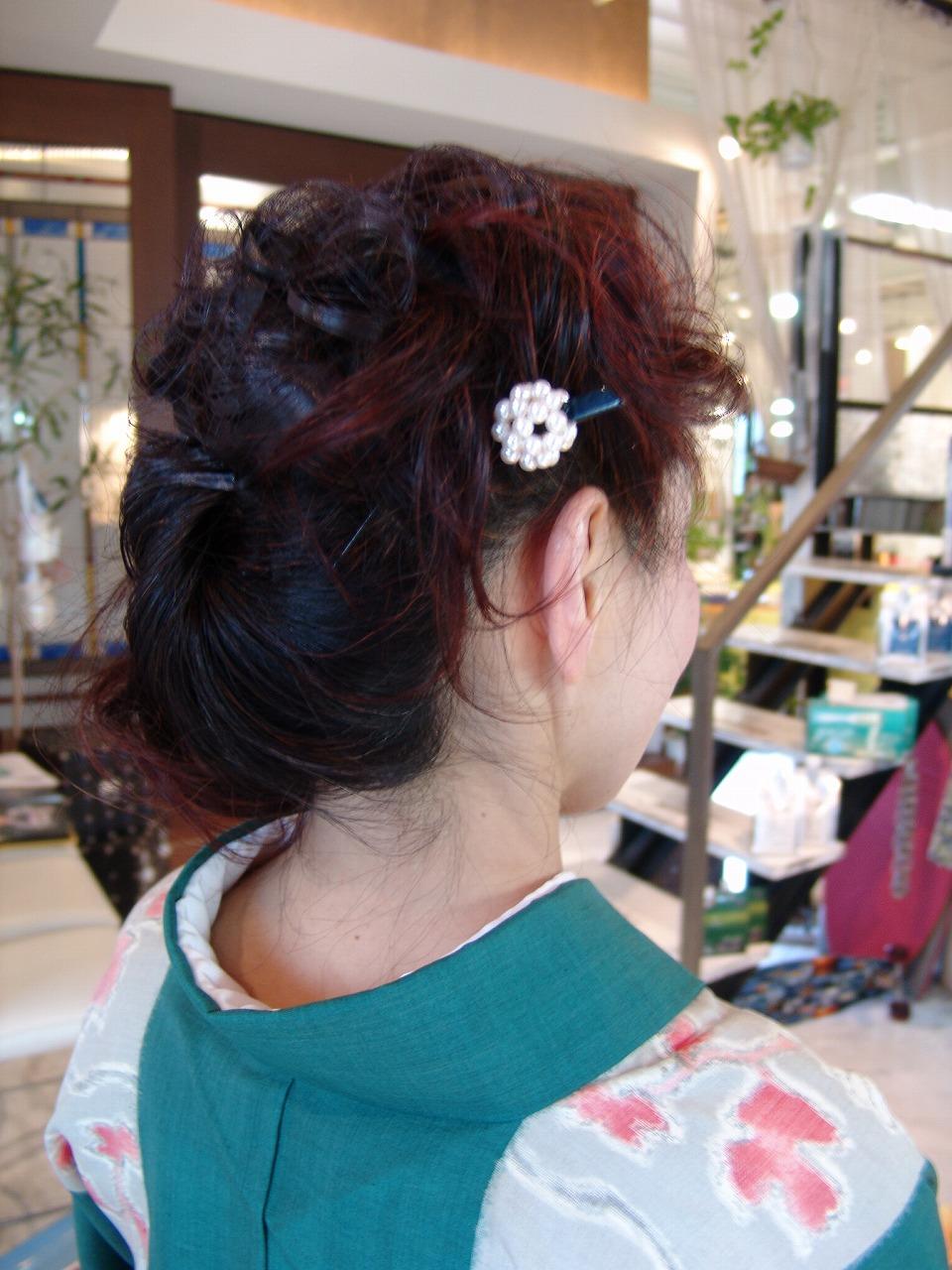 レディース 成人式 着物 和風アップ まとめ髪 パーマ カラー2