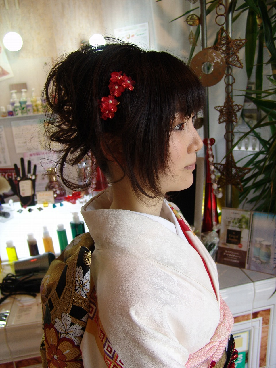 レディース 成人式 着物 和風アップ まとめ髪 パーマ カラー1