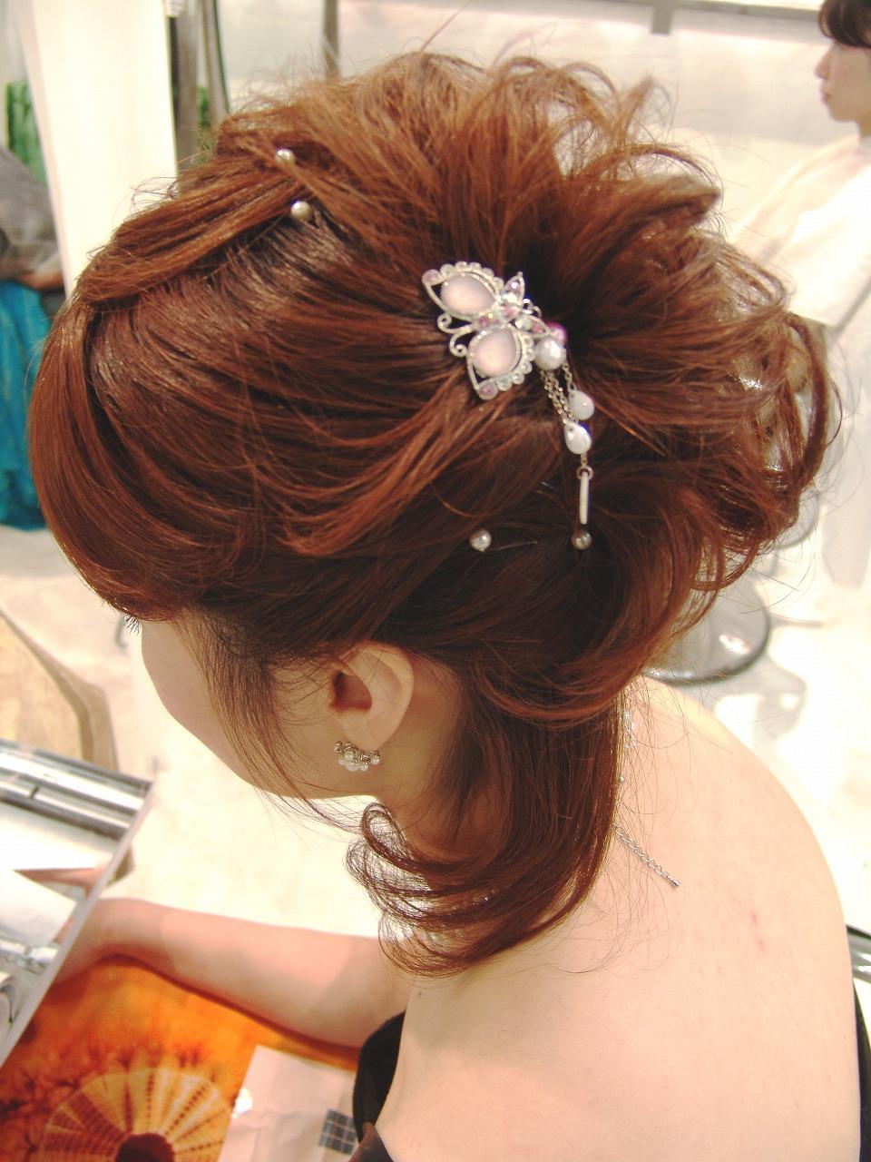 レディース ミディアム ハーフアップ まとめ髪 パーマ カラー パーティーヘア