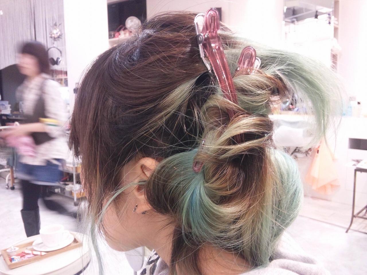 レディース ロング アップ まとめ髪 カラー